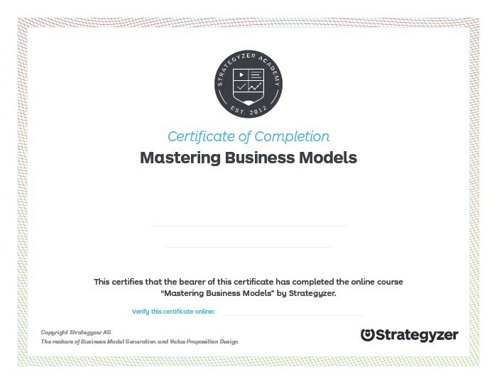 Strategyzer Course Certificate